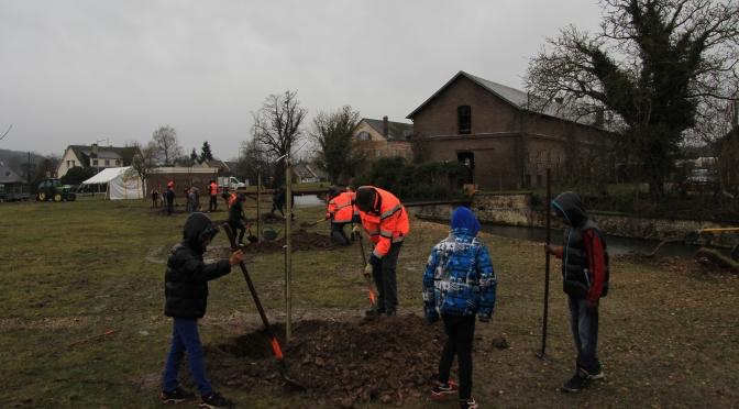 Plantation avec les enfants du collège de Navarre